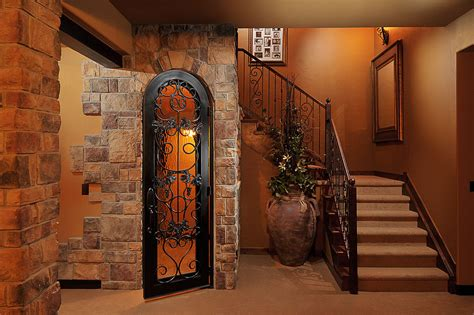 wine cellar doors basement traditional with baseboards