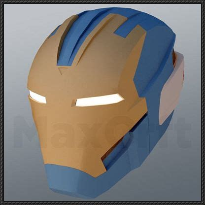 Iron Mask Papercraft - iron legion drone helmet papercraft free template