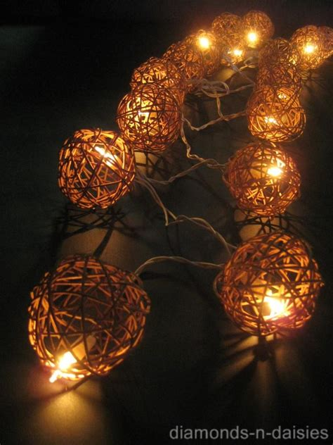Rattan String Lights 20 Natural Brown Wicker Rattan Ball Led String Fairy