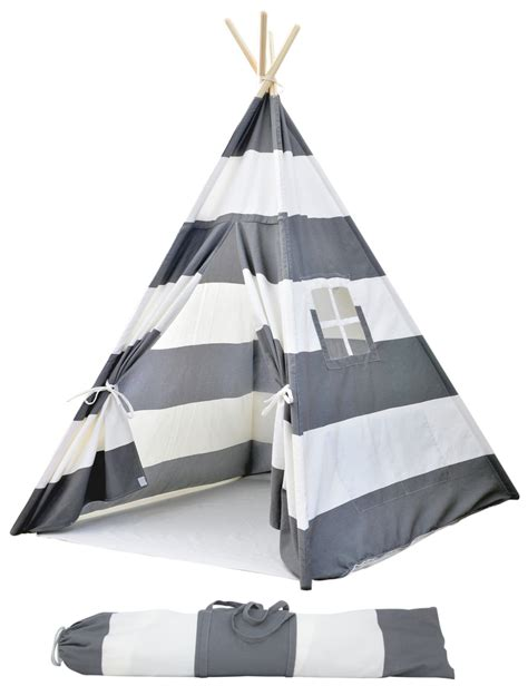 Teepee Tent Pesanan Customer portable canvas teepee tents for with carrying large gray stripes a mustard seed toys