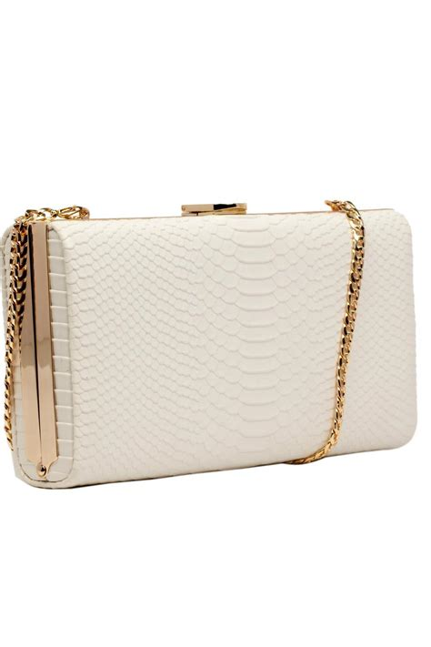 White Clutch canova white snakeskin clutch from crouch end by scarecrow boutique shoptiques