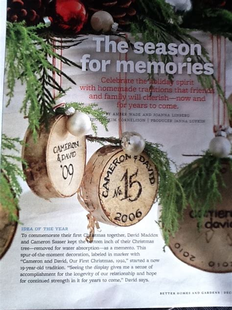 christmas tradition ornaments made out of stump of