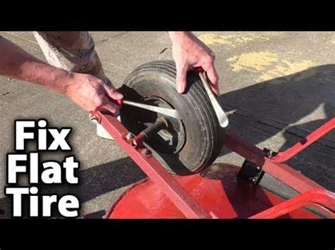 fix flat tire  wheelbarrow   repair  tube install youtube