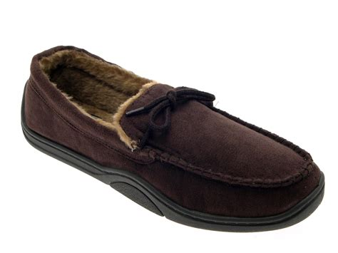 slippers size 11 mens warm slippers moccasins fauxn suede sheepskin fur