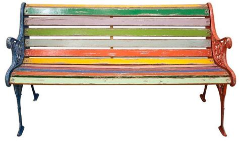 painted garden bench upcycled painted wood bench with cast iron frame great idea for brightening up old