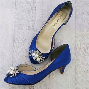 Blue Wedding Shoes by Royal Blue Wedding Shoes Kitten Heel Peep Toes With Pearl