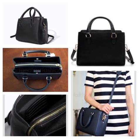 zara mini office city bag black white style