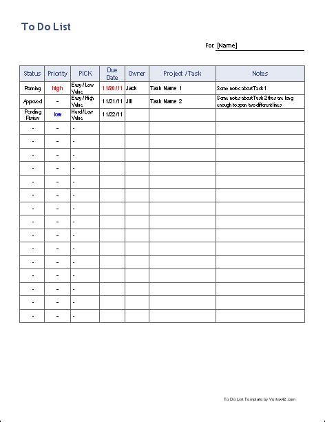 Free To Do List Template For Excel Get Organized To Do List Template