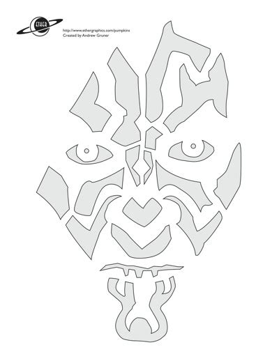 free printable pumpkin stencils star wars darth maul head stencil