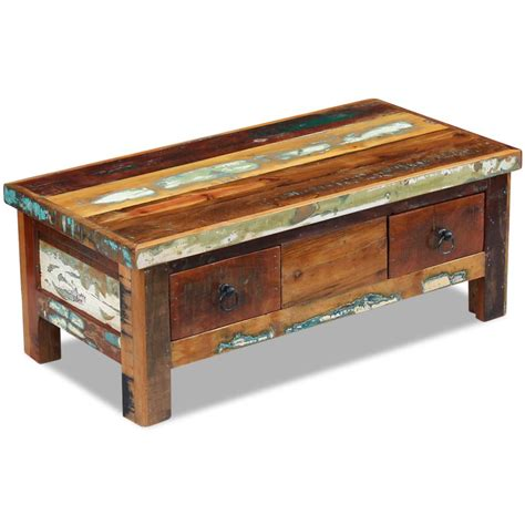 reclaimed wood desk with drawers vidaxl coffee table drawers solid reclaimed wood 90x45x35