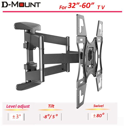 nb bracket led tv 32 55 inch d2f nb arm 32 60 quot retractable lcd tv wall mount with