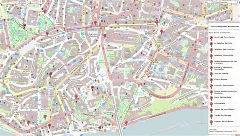 porto map points of interest in the city of porto portugal