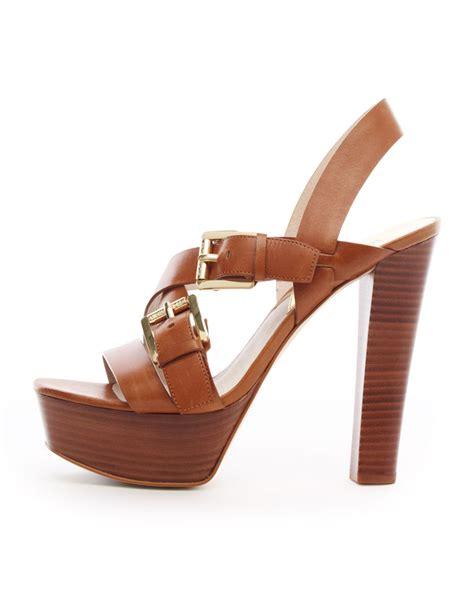 michael kors platform sandal michael kors josephine leather platform sandal in brown lyst