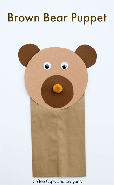bear pattern for kindergarten brown bear puppet craft puppet crafts brown bear and puppet
