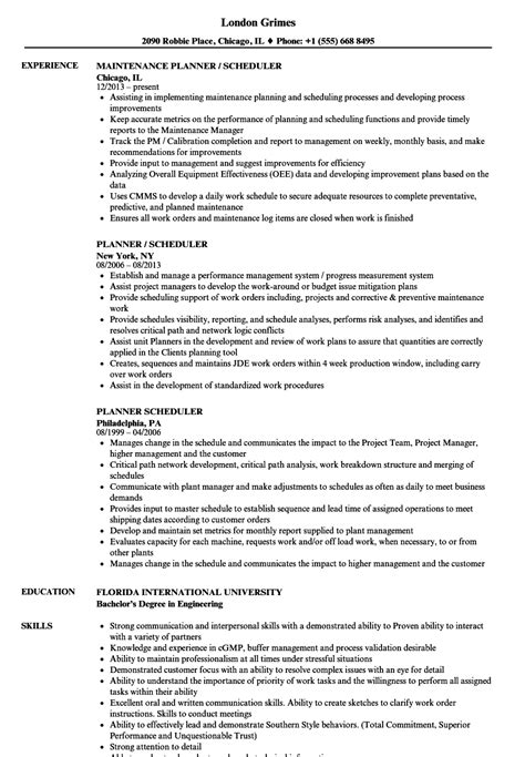 planner scheduler resume sles velvet jobs