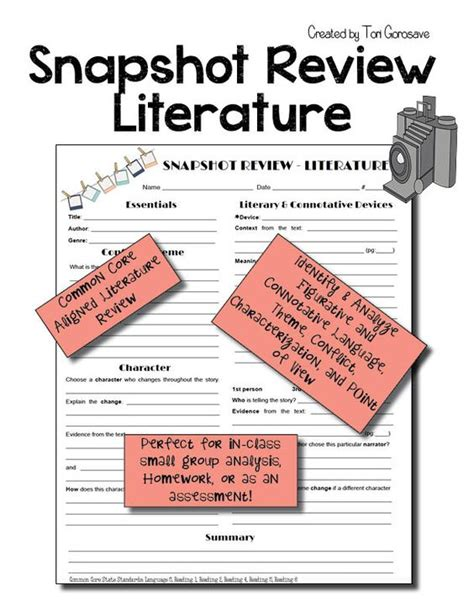 identifying themes literature review point of view literature and worksheets on pinterest
