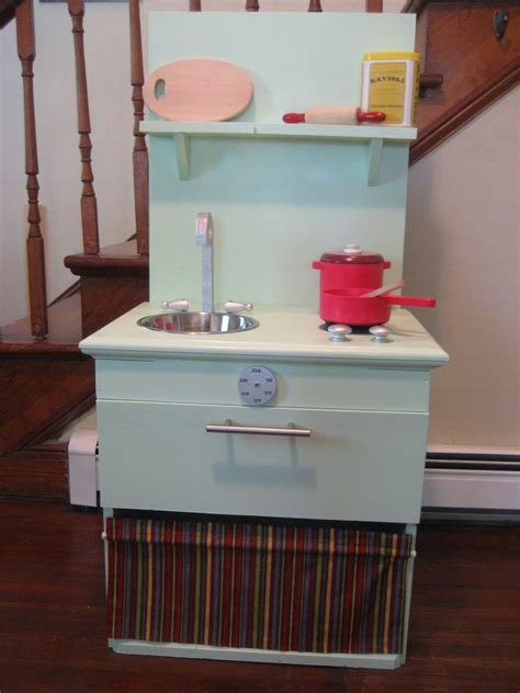 diy play kitchen for kid from old nightstand furniture diy play kitchen from night stand