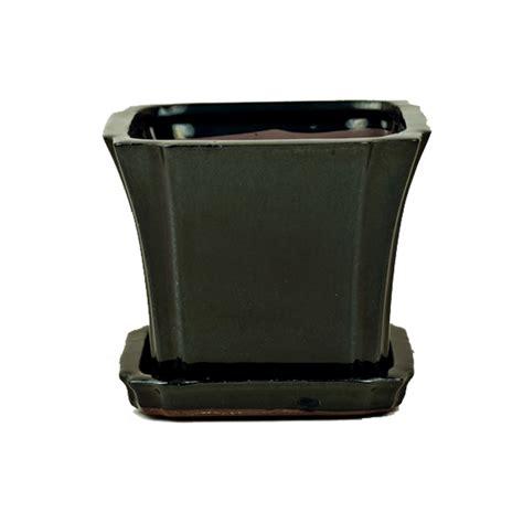 Square Ceramic Planters by 5 Quot Solid Black Onyx Square Ceramic Orchid Pot