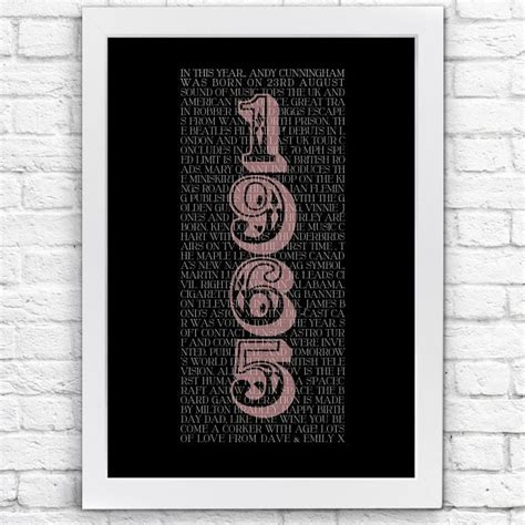 Personalised 50th Birthday Present Typographic Poster