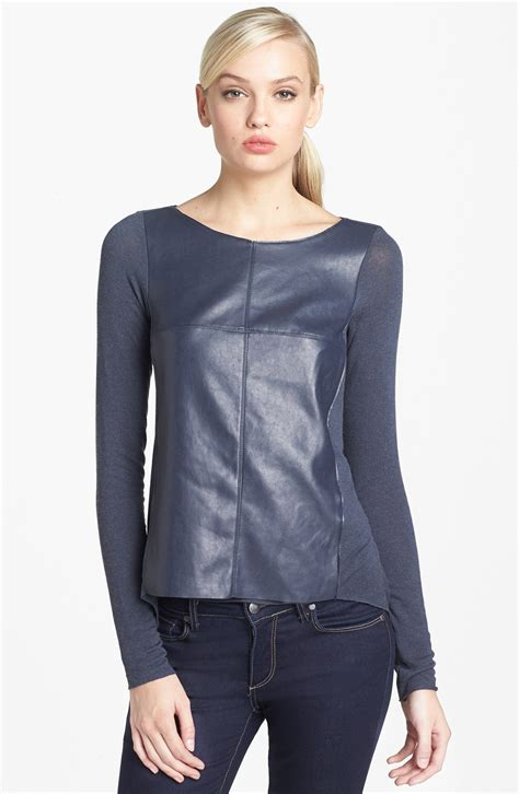 grey software bailey 44 software faux leather front sweater in gray grey lyst