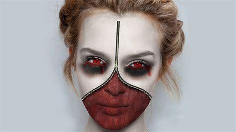 makeup psd templates for photoshop photoshop tutorial making zipper face halloween youtube