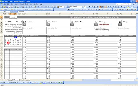 planning excel template weekly planner excel templates