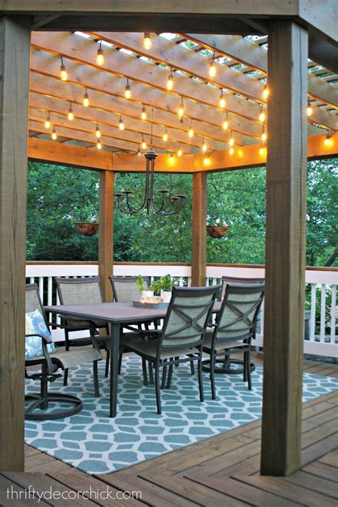 Our Beautiful Outdoor Dining Room From Thrifty Decor Chick Outdoor Lights For Pergola