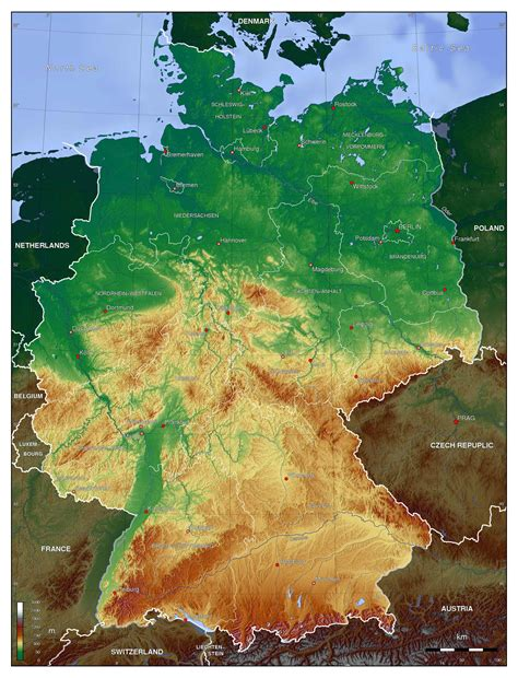 germany physical map large detailed physical map of germany germany europe