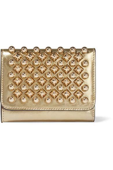 Christian Louboutin Macaron Mini Wallet by Christian Louboutin Macaron Mini Metallic Studded Leather Wallet Net A Porter