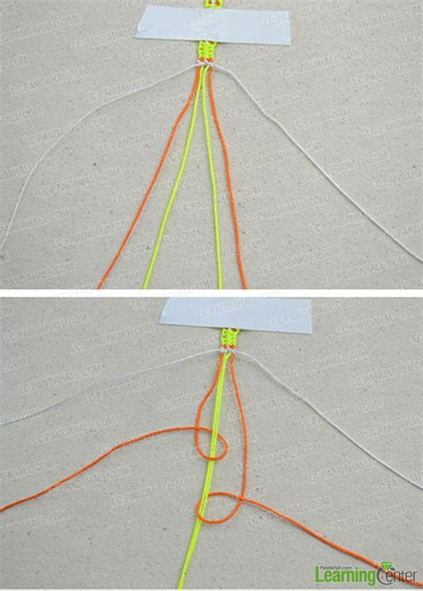 Three String Knot - how to weave a knotted friendship bracelet with 3 strings