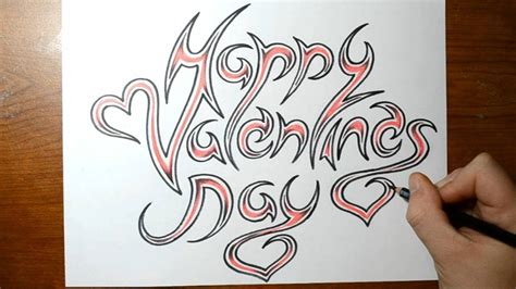 happy valentines day fancy writing happy valentines day cool writing sketch