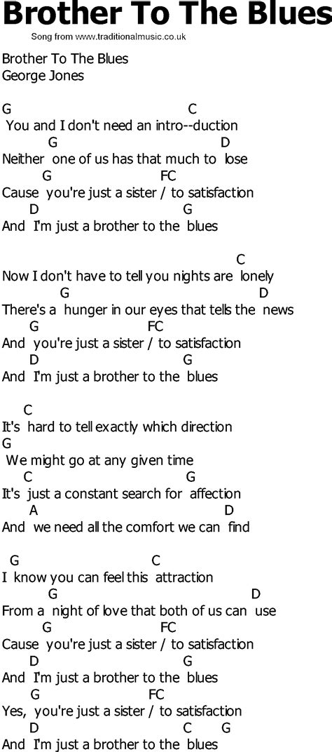 song to country song lyrics with chords to the blues