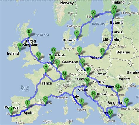 map a trip europe tourist destinations map