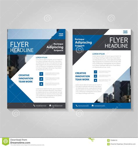 blue vector annual report leaflet brochure flyer template