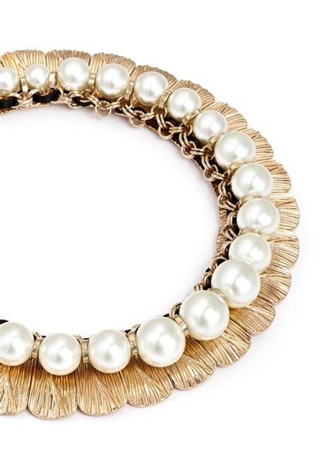 pearl collar anabela chan delphin 14k gold resin pearl collar necklace in gold metallic lyst