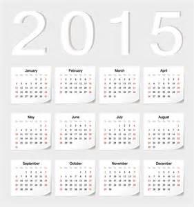 2015 white sticker calendar vector graphics