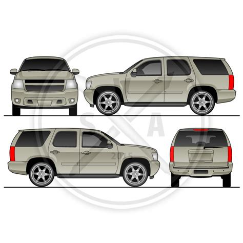 vehicle graphic templates tahoe suv vehicle template stock vector