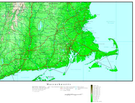 map massachusetts massachusetts elevation map