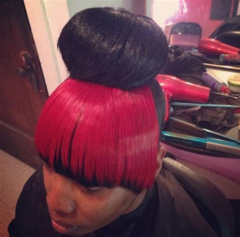how to do a weave bun with bangs high bun with weave black and red bang hair pinterest