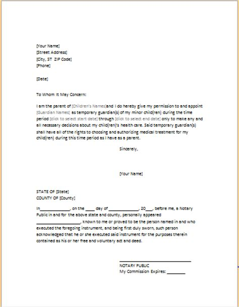 POWER OF ATTORNEY LETTER FOR CHILD CARE   Word & Excel