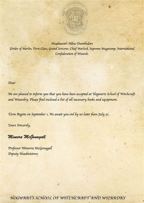 Hogwarts Acceptance Letter Fill In 25 Best Ideas About Hogwarts Letter On Harry