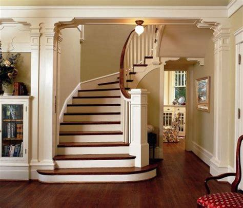 contrasting stains brighten entry staircase staircases staircase ideas and entryway