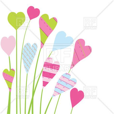colorful heart shaped flowers over white background vector