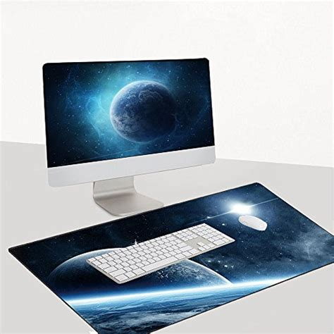 Gaming Desk Pad Cmhoo Gaming Mouse Pad Extended Large Desk Pad With Special Textured Surface 90x40 Space Ship