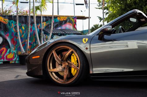 Wheels 458 Spider Kuning gray 458 spider on velos forged wheels front
