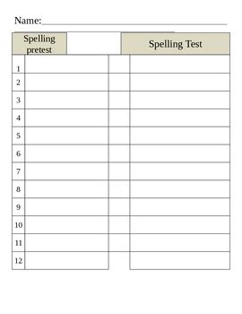 Word Automaticity Spelling Pre And Post Test Templates By Babbling Abby Spelling Pretest Template
