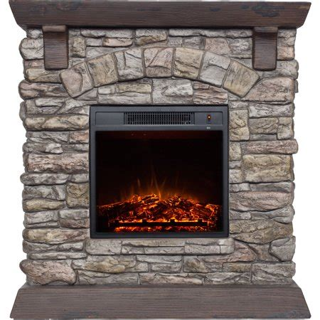 polyfiber electric fireplace with 38 quot mantle walmart