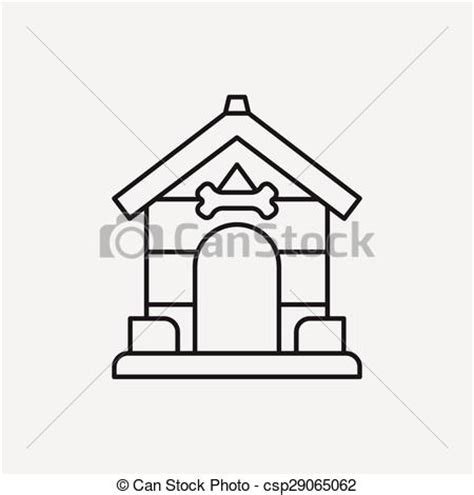 Clip Art Vector Of Dog House Line Icon Csp29065062 Search Clipart Illustration