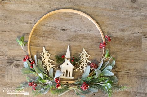 christmas embroidery hoop wreath  recipe confessions