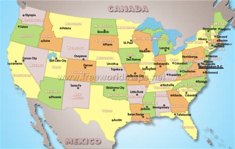 united states map with states and capitals and major cities us capitals